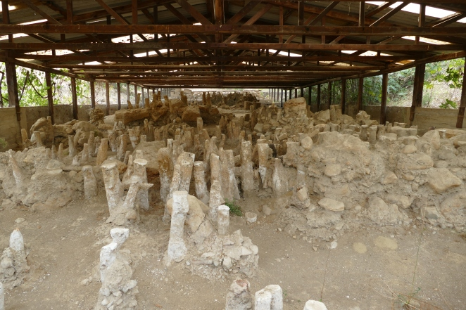 Wooden pyles from the ancient bridge at Amphipolis