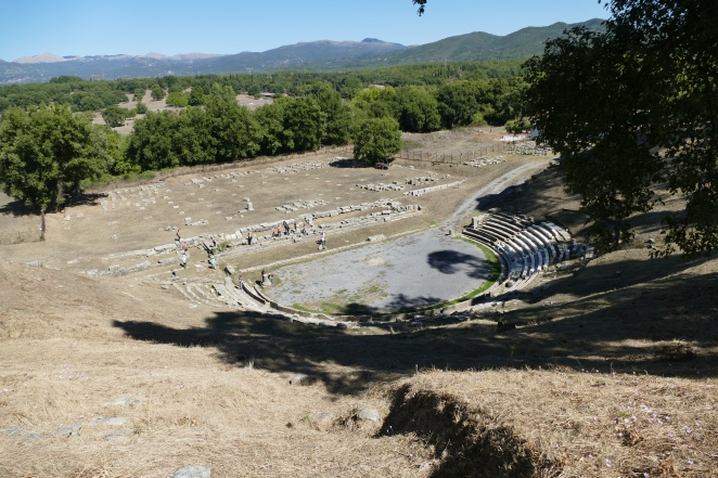 The Theater at Megalopolis with the foundations of the Thersilion in the background