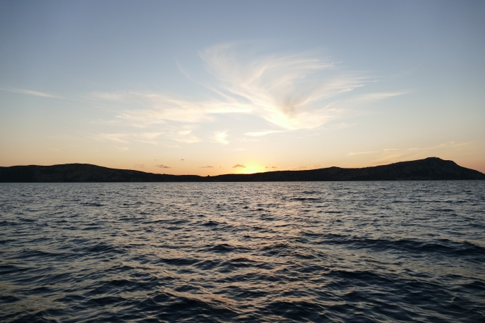Sunset at Pylos from our boat