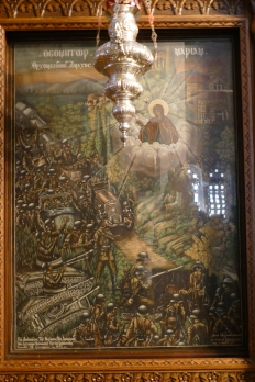 An image of the VIrgin Mary warding off the Nazis at Orchomenos (Panaghia Skripou Church)