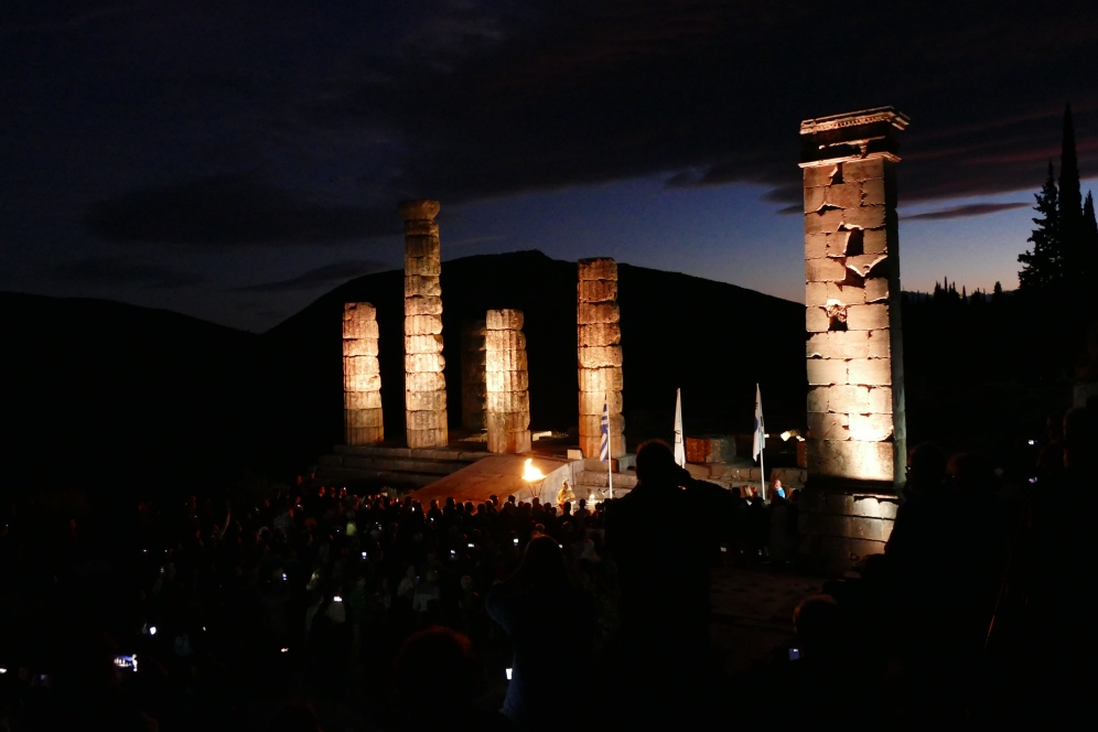 The Olympic Torch ceremony at the Temple of Apollo (Delphi)