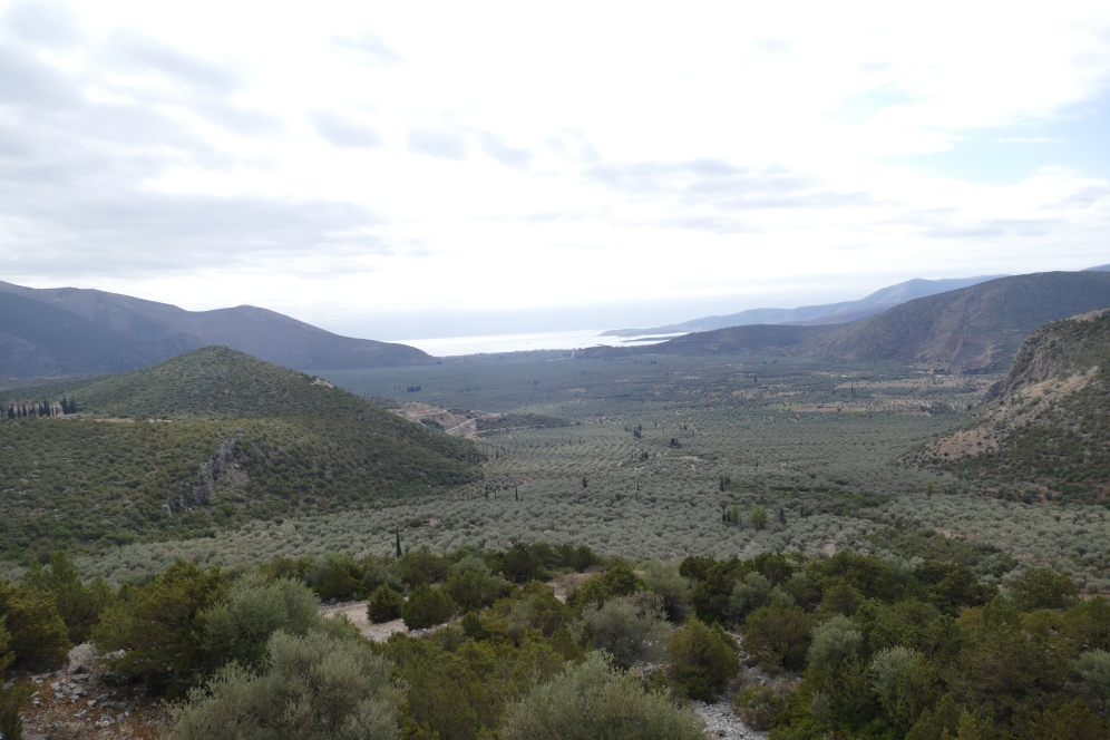 A look at the sacred harbor of Delphi from the quarries